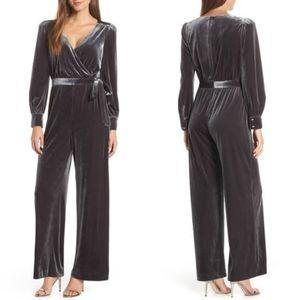 Eliza J Wrap Look Velvet Grey Pewter Jumpsuit